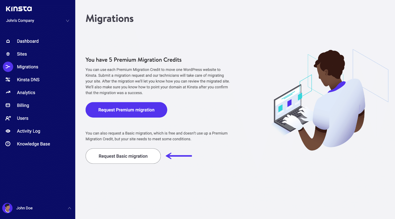 Request basic WordPress migration