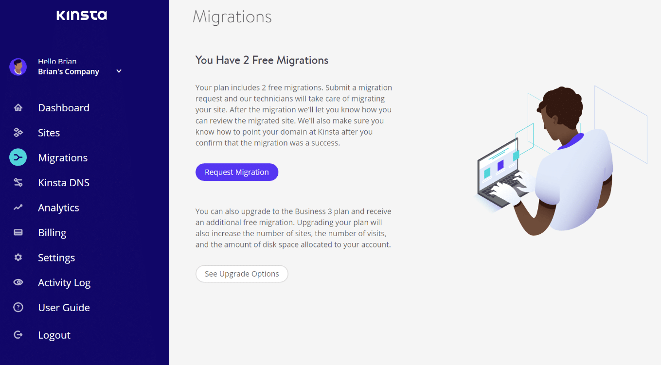 Request WordPress migration