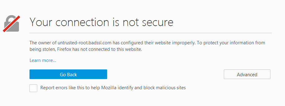 Your connection is not secure warning in Firefox