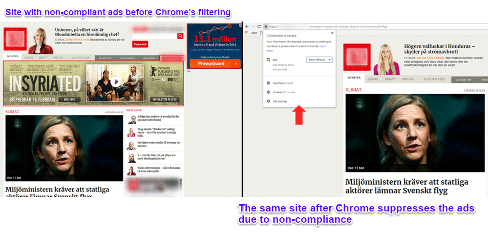 Chrome blocking ads