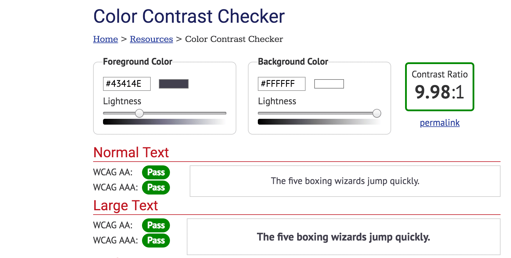 Color contrast checker tool