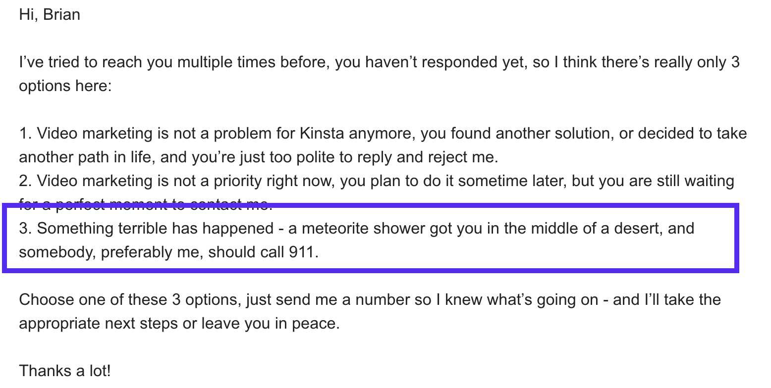 Great cold email followup example