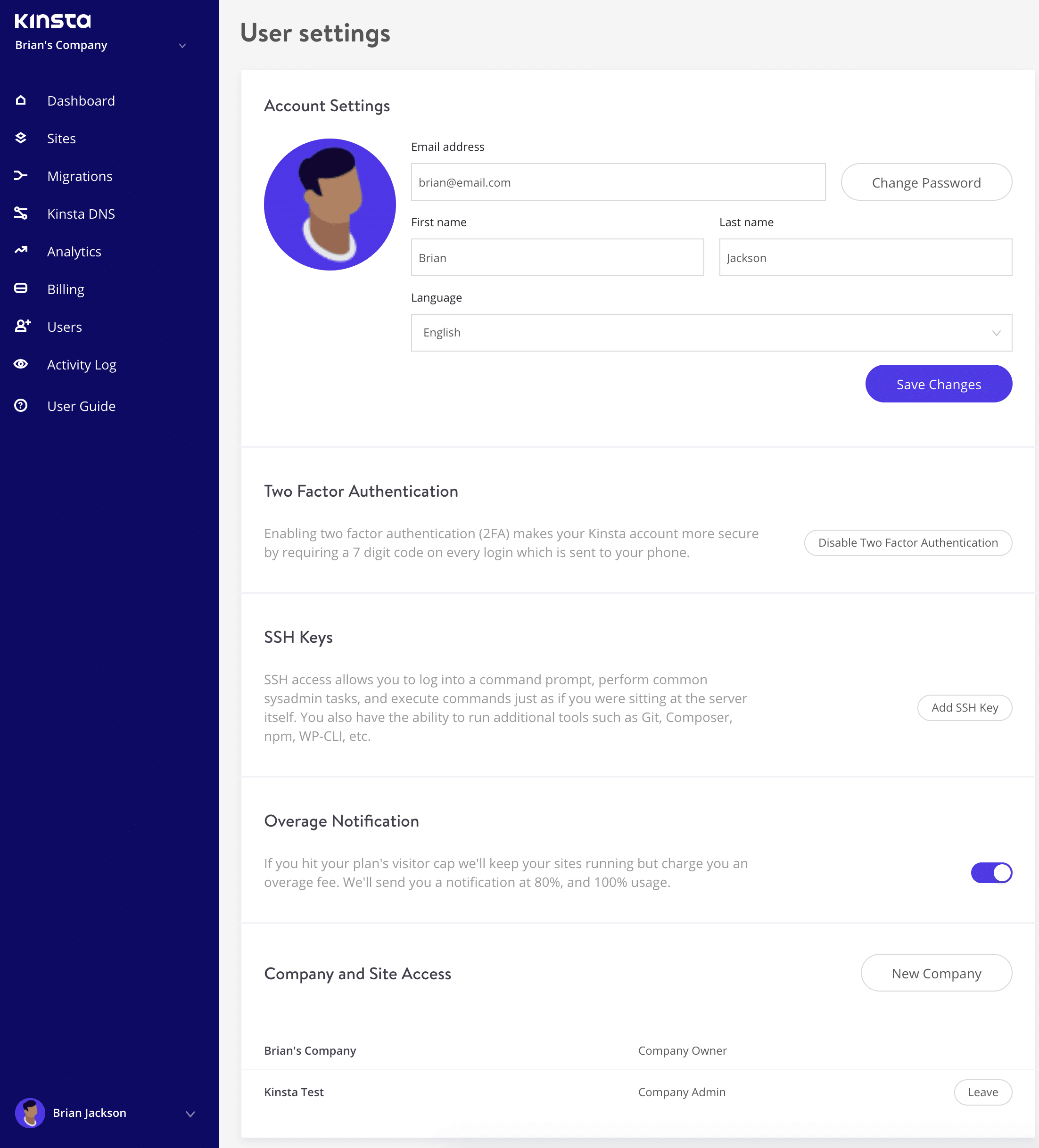 MyKinsta user settings