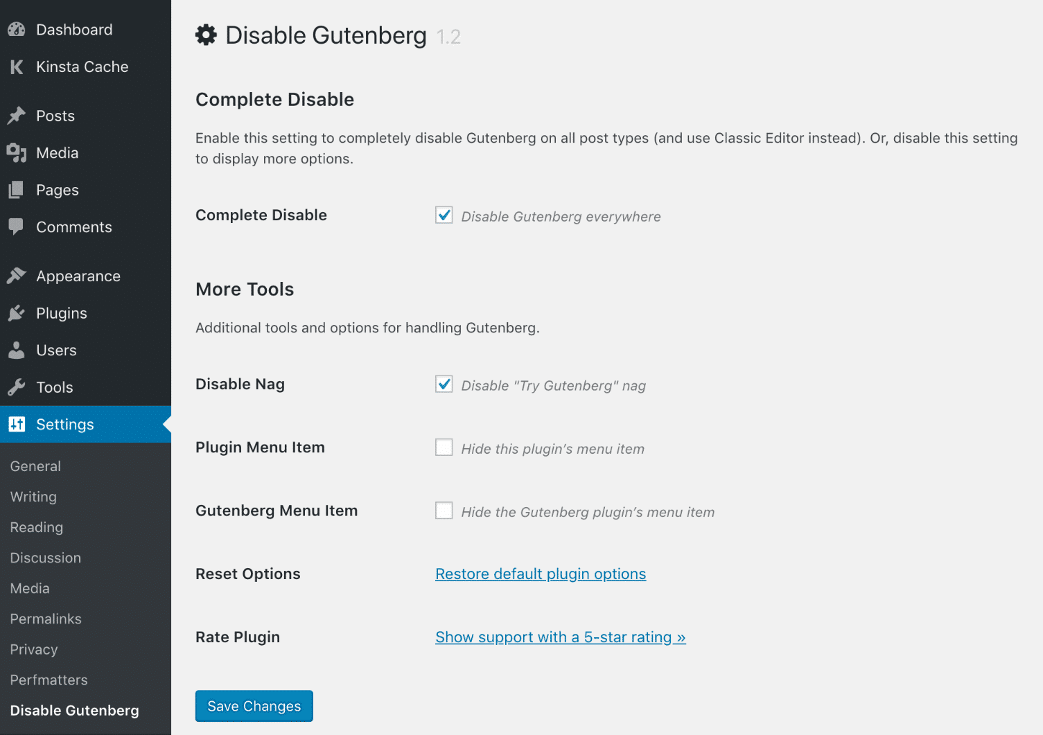 Disable Gutenberg default settings