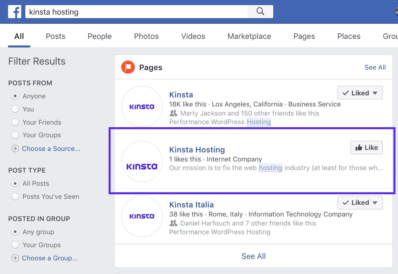 Résultats de la recherche de marque déposée sur Facebook
