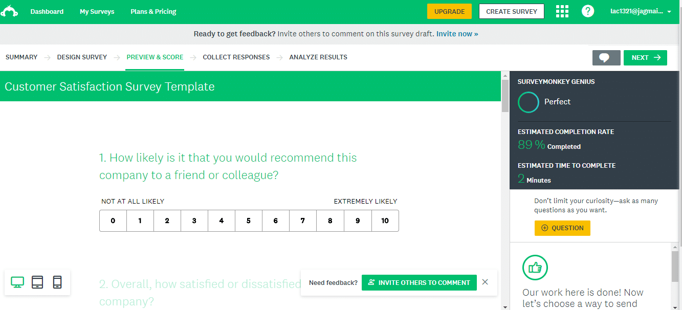 Survey example finished