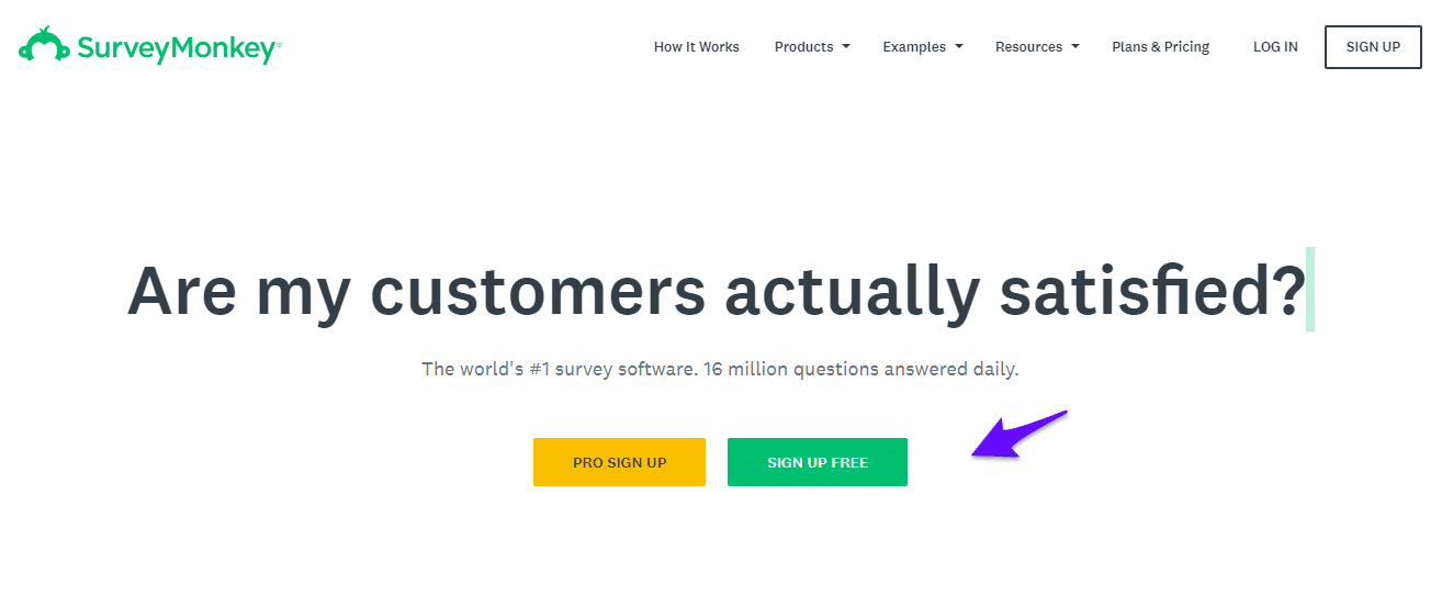 SurveyMonkey signup