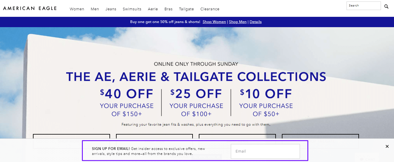 American Eagle floating bar email capture form