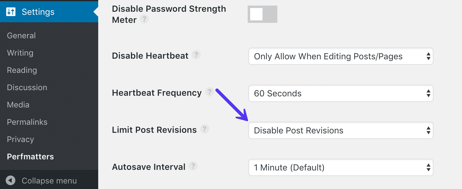 Disable post revisions with Perfmatters plugin