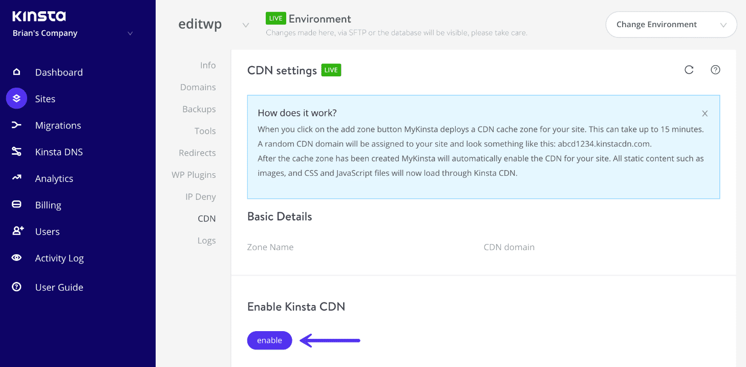 Enable Kinsta CDN