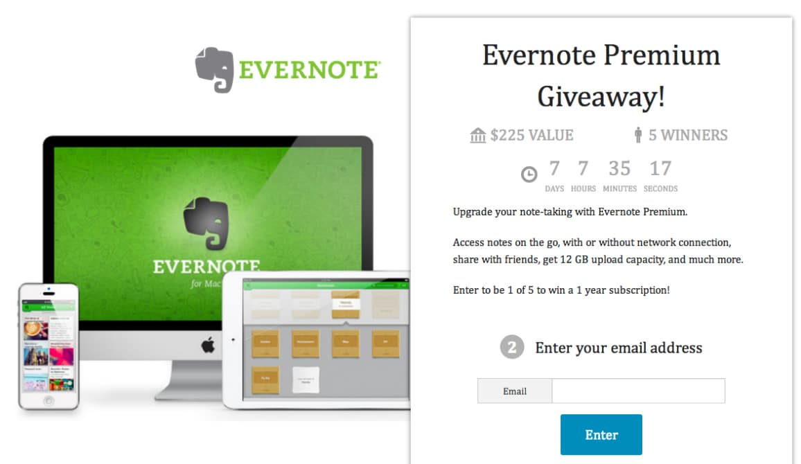 Evernote giveaway