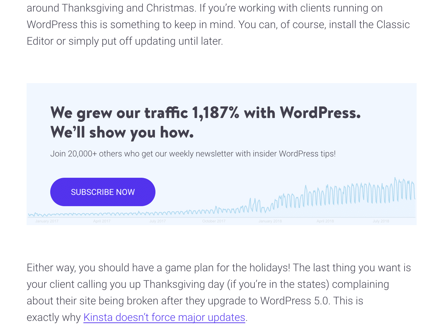 Kinsta blog post email capture form