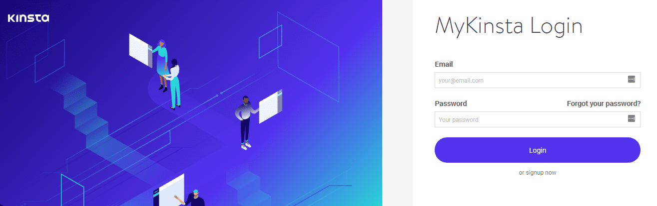 Kinsta signup page