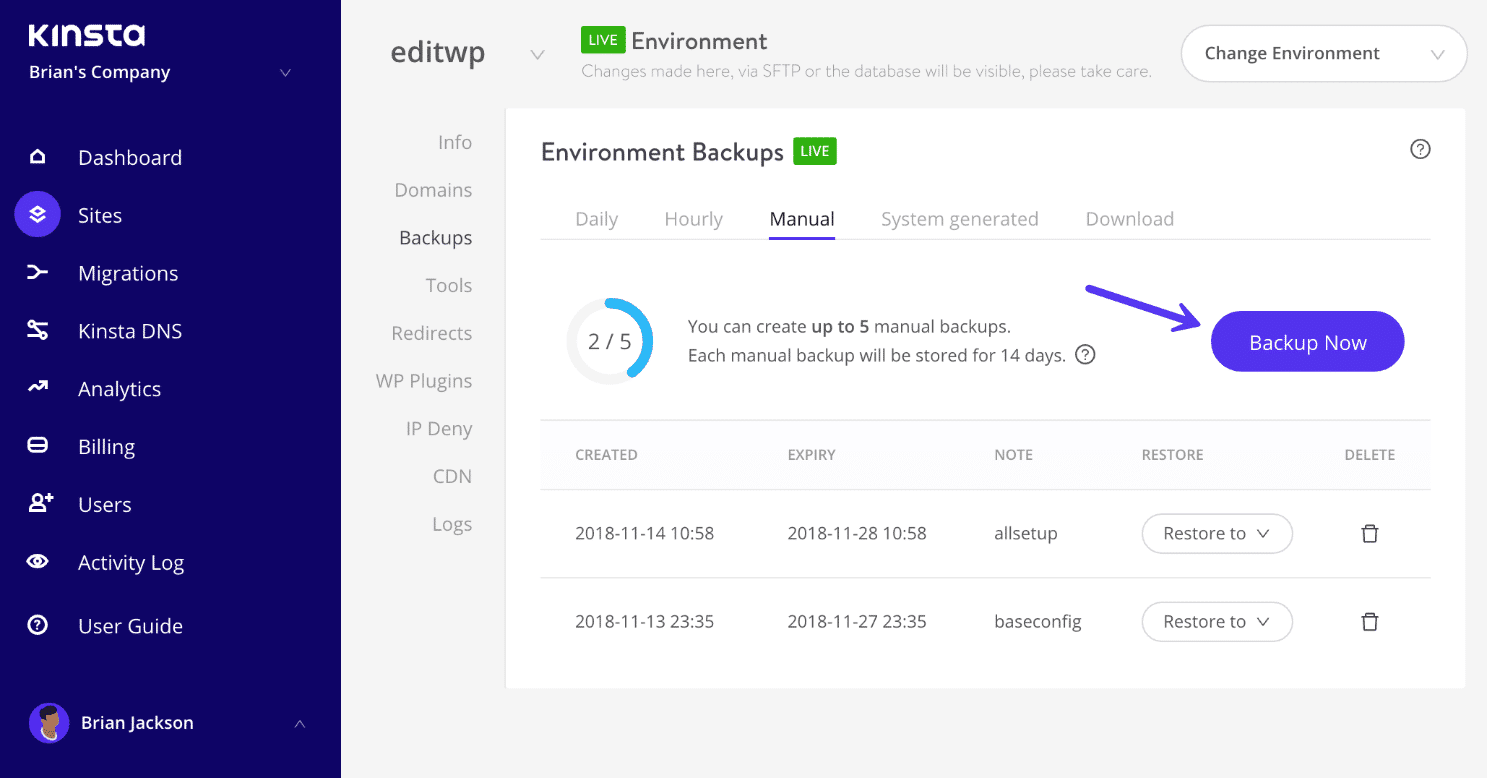 Manual WordPress backup