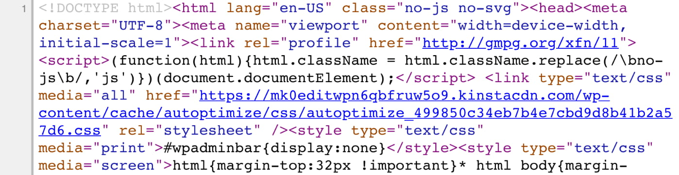 Minified HTML code
