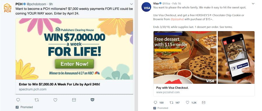 Twitter ad giveaways