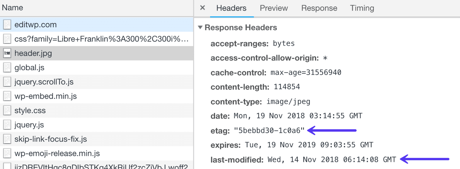 Last-modified and ETag HTTP headers