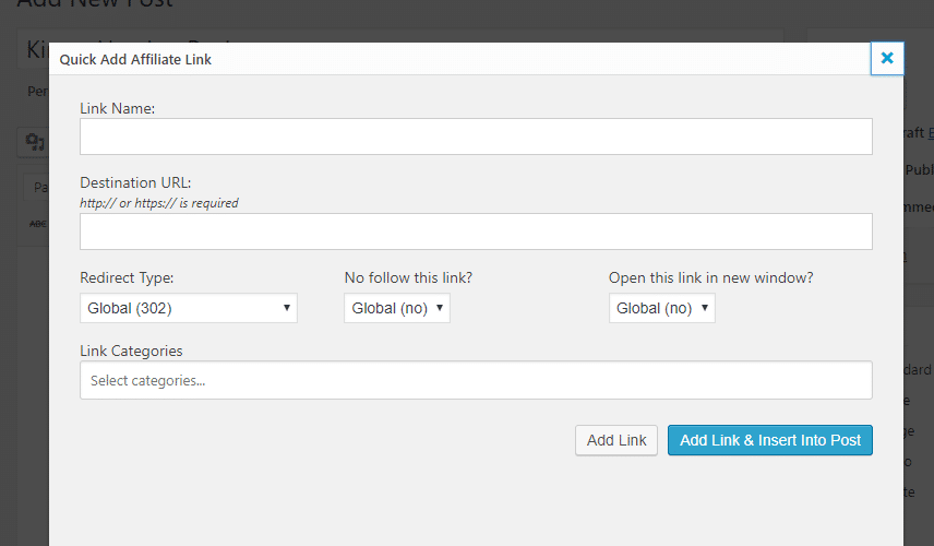 Quick add new link interface