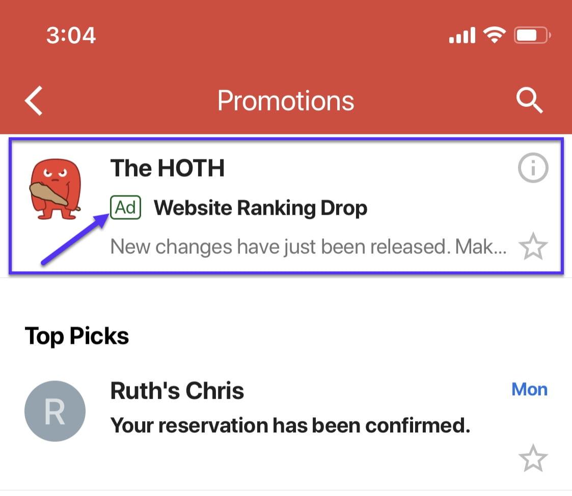 Email retargeting in Gmail