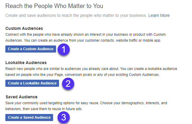 Facebook audience types