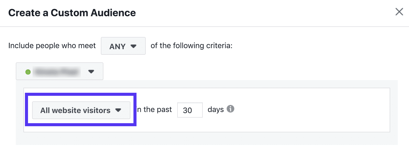 Facebook retargeting audience - last 30 days
