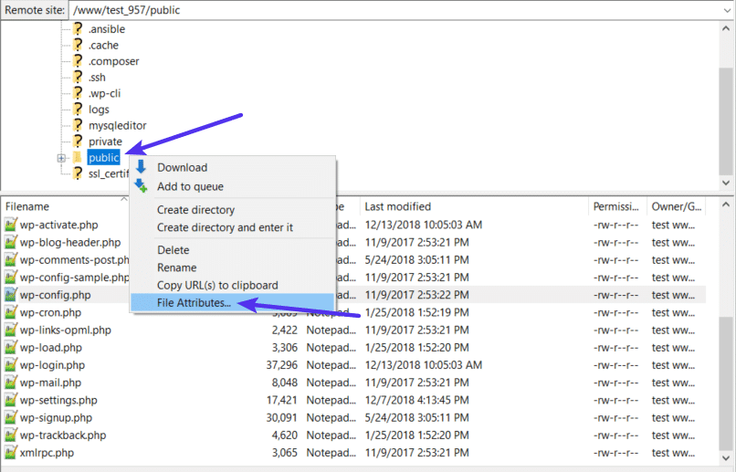 Bulk edit file permissions in FileZilla
