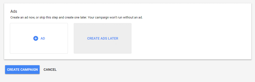 Google Ads create ads