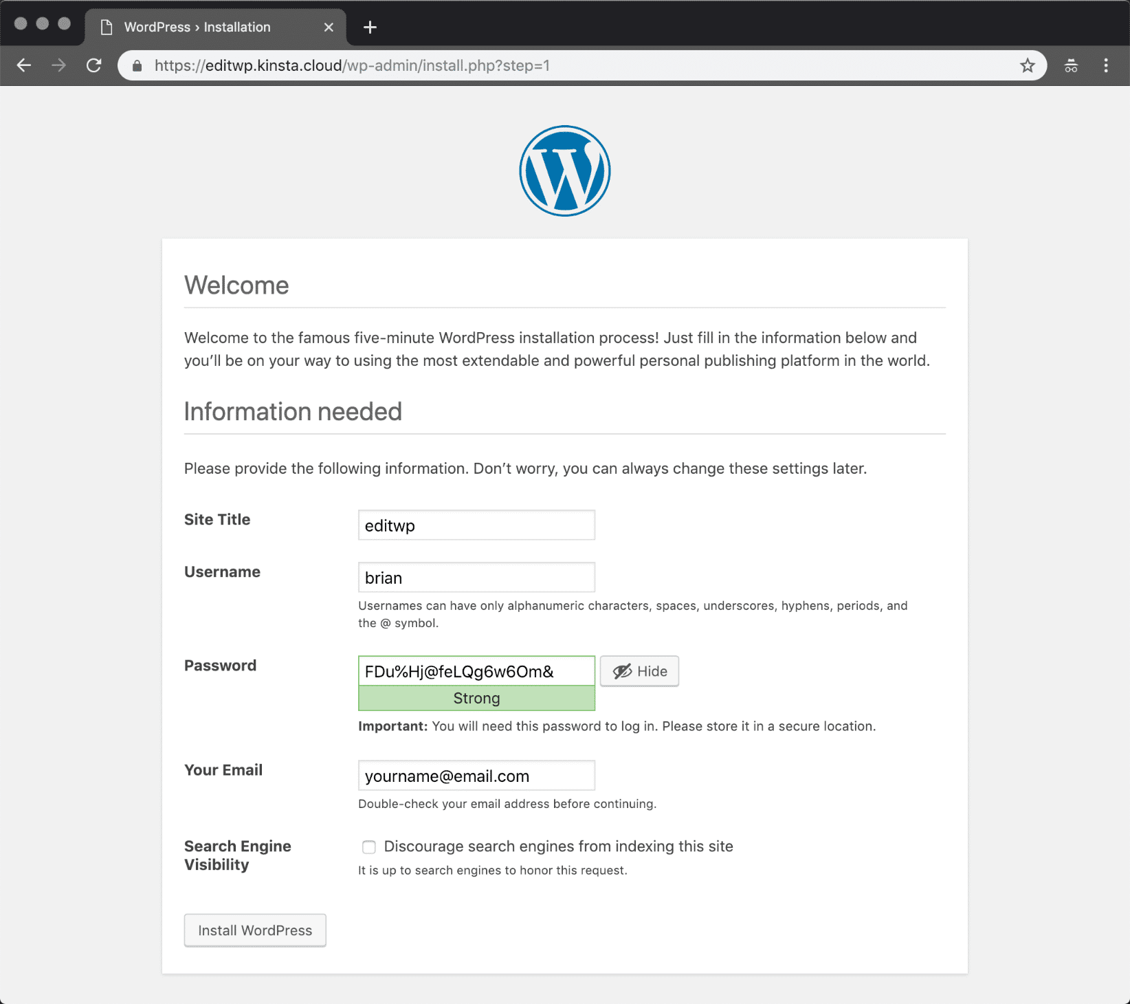 Manually install WordPress - Information needed