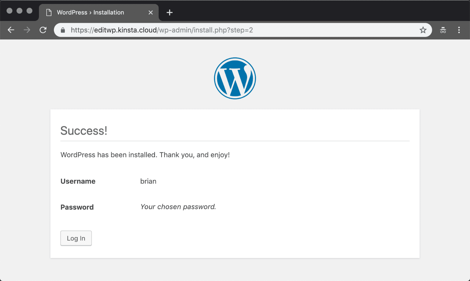 Manually install WordPress success