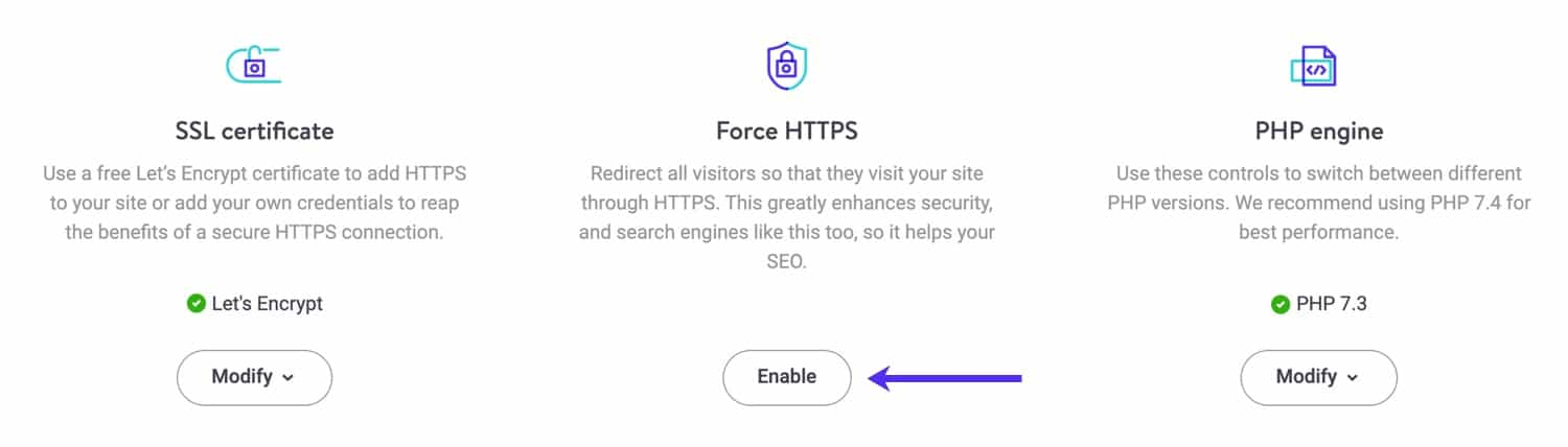 Force HTTPS tool in MyKinsta.