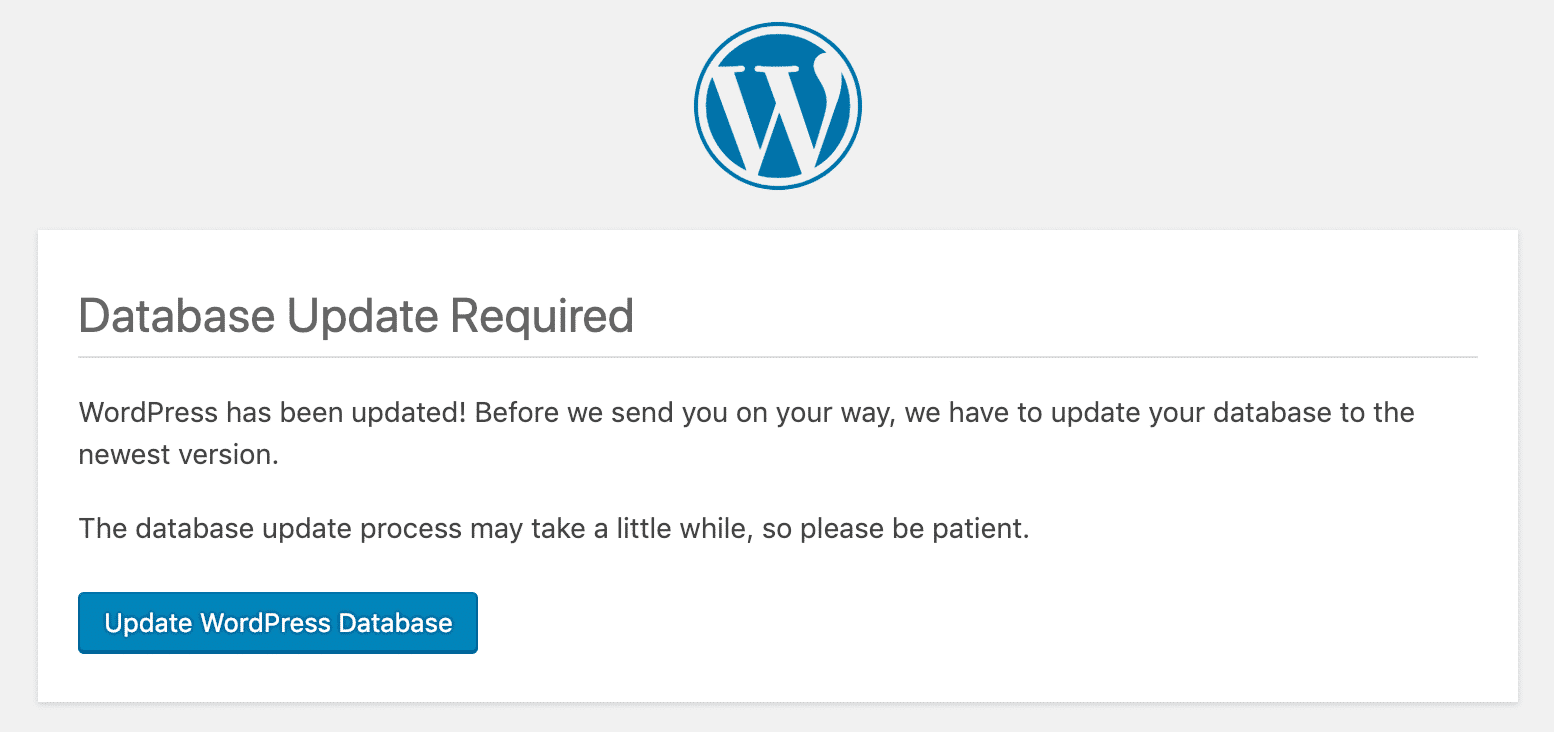 WordPress 5.0 database update required