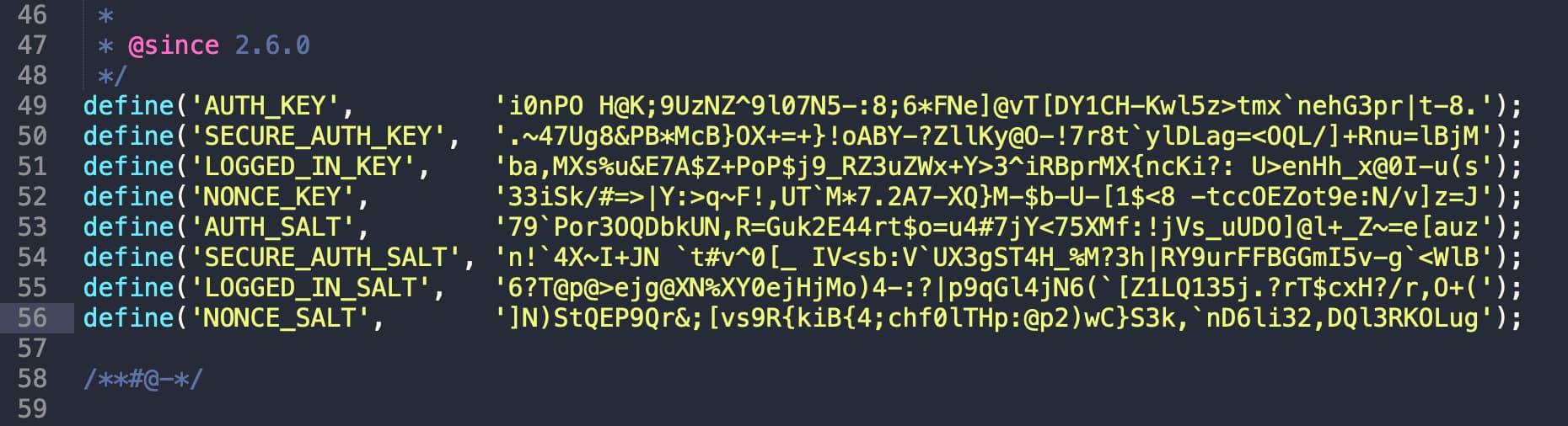 WordPress authnetication keys and salts