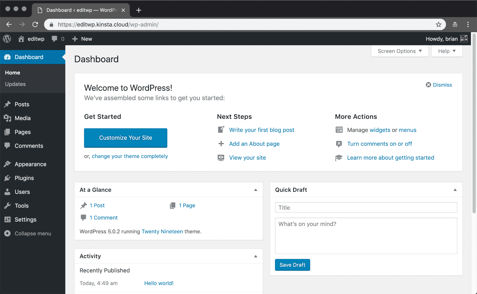 WordPress install - Dashboard