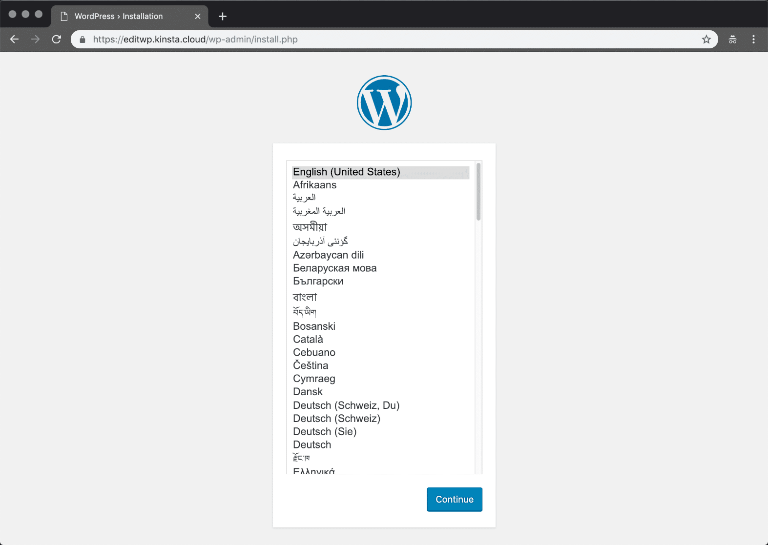 WordPress install language
