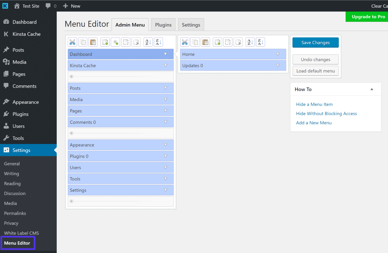 The Admin Menu Editor interface