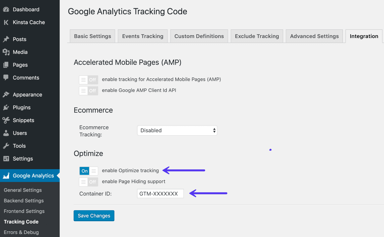 Enable Google Optimize in Analytics plugin