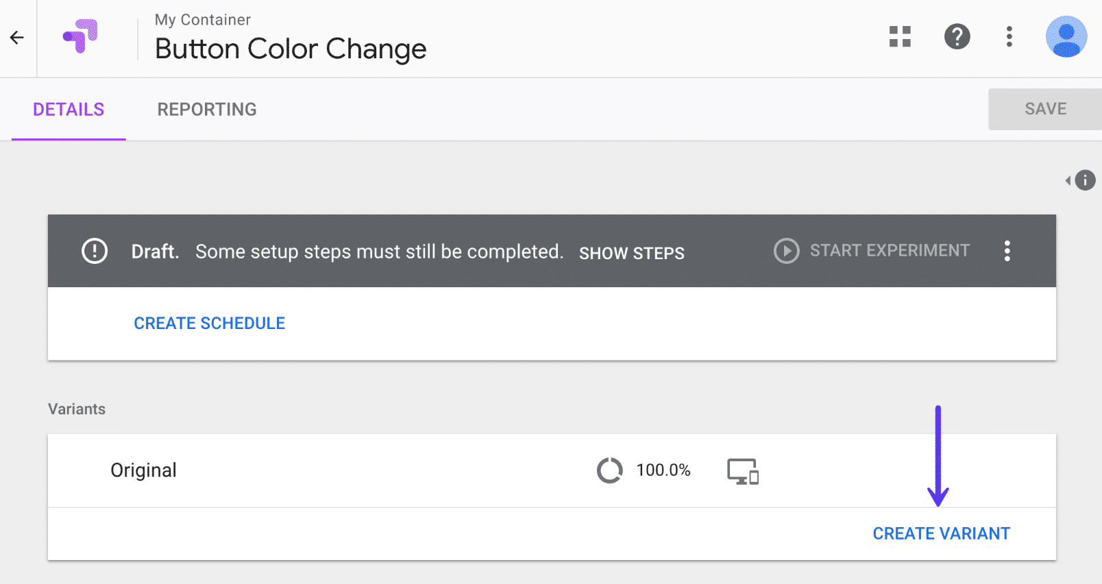 Google Optimize create variant