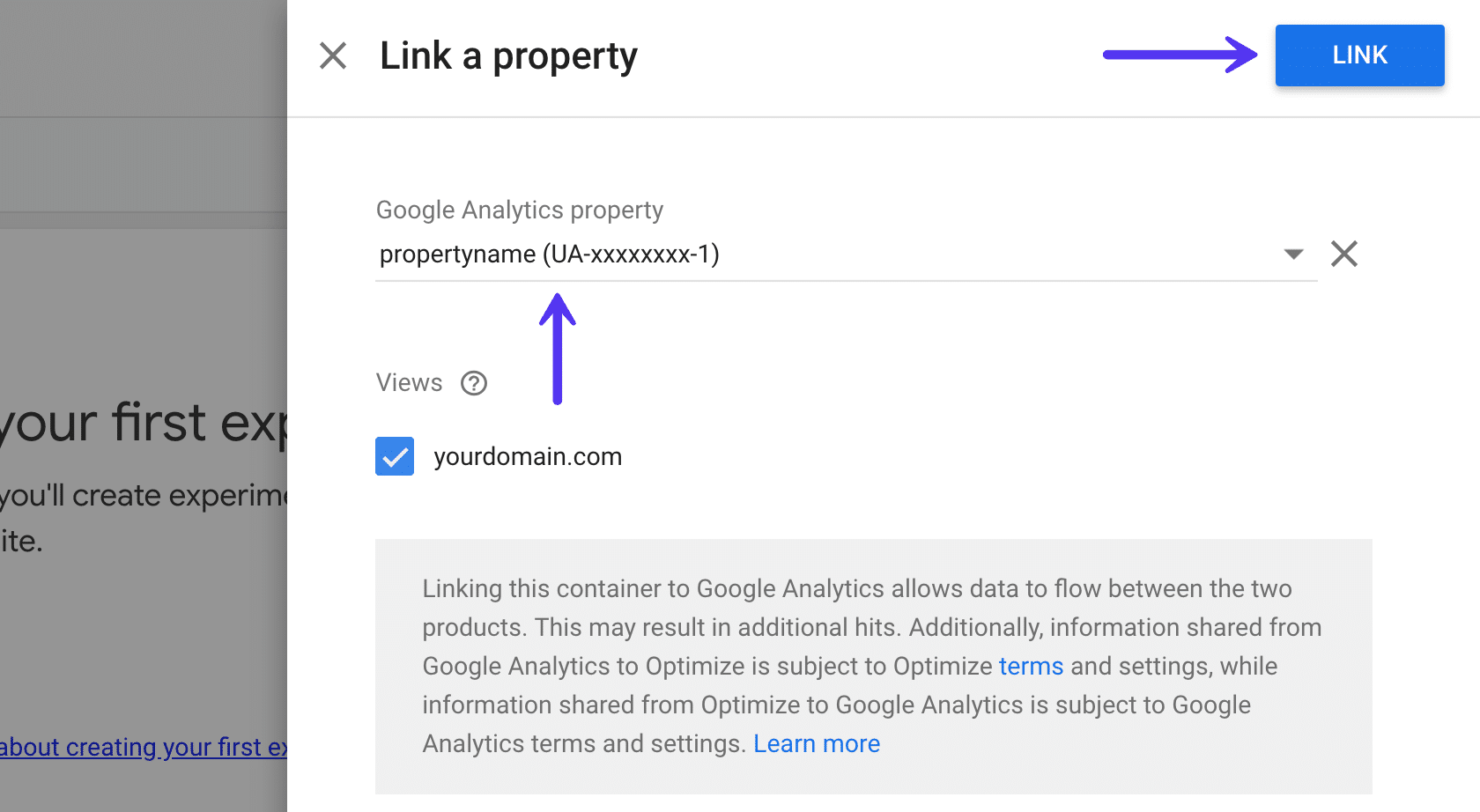 Link a property in Google Optimize
