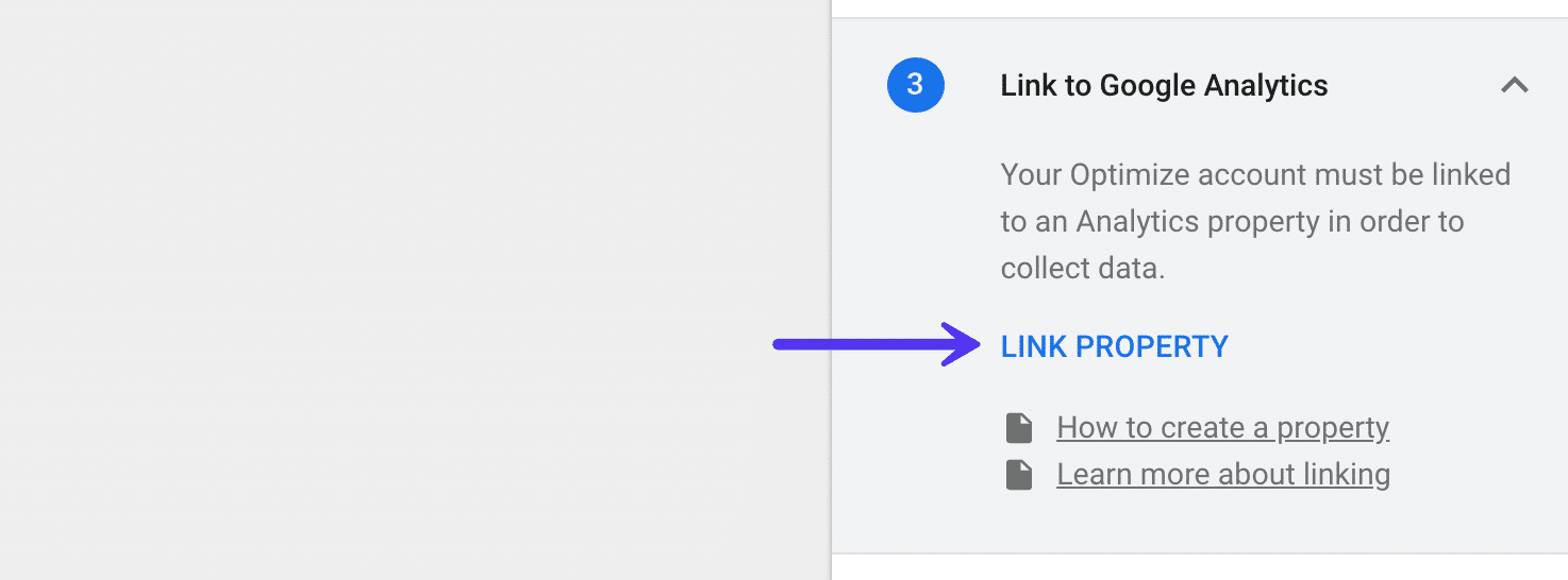 Google Optimize - Link Google Analytics Property