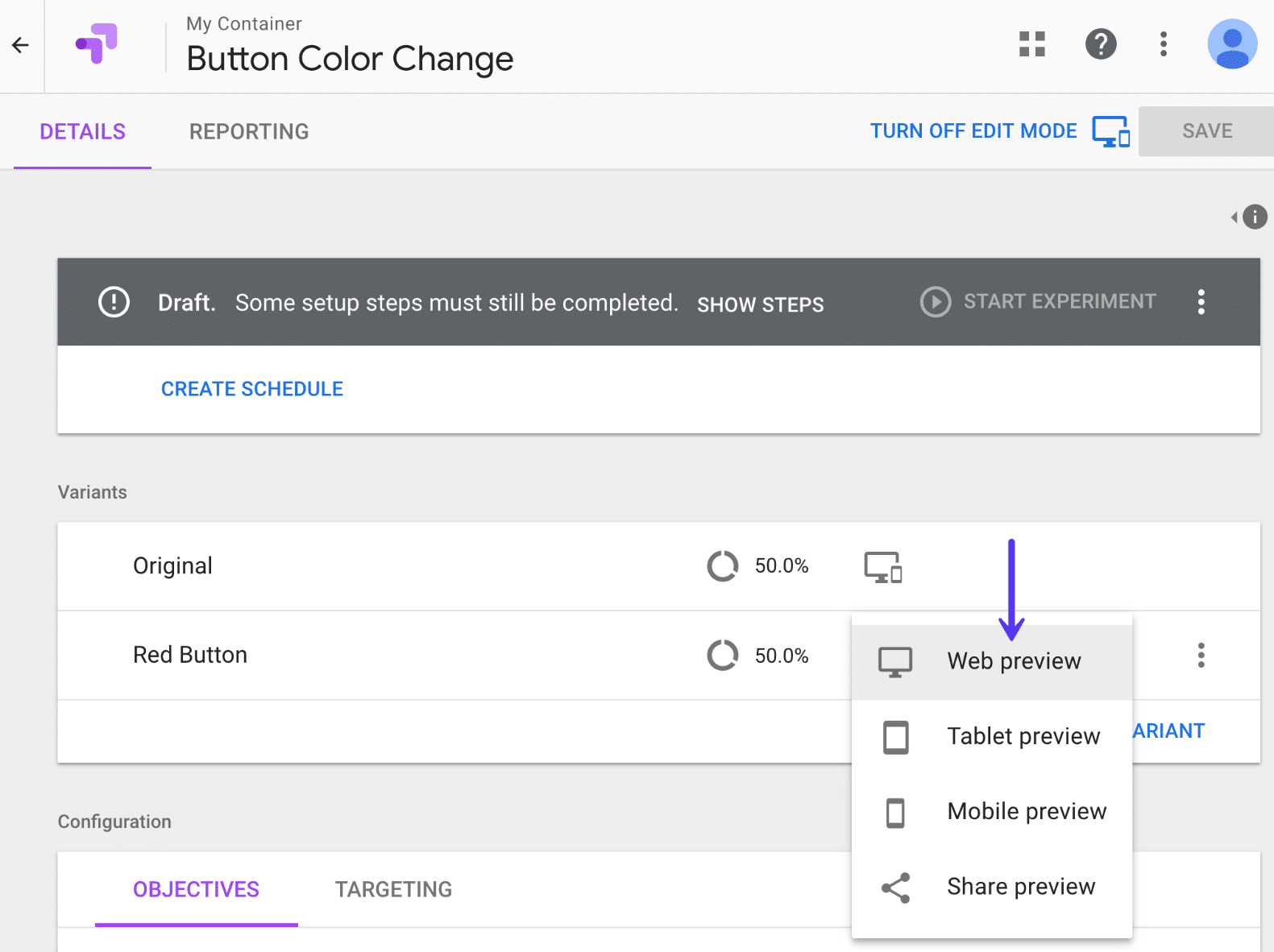 Google Optimize web preview
