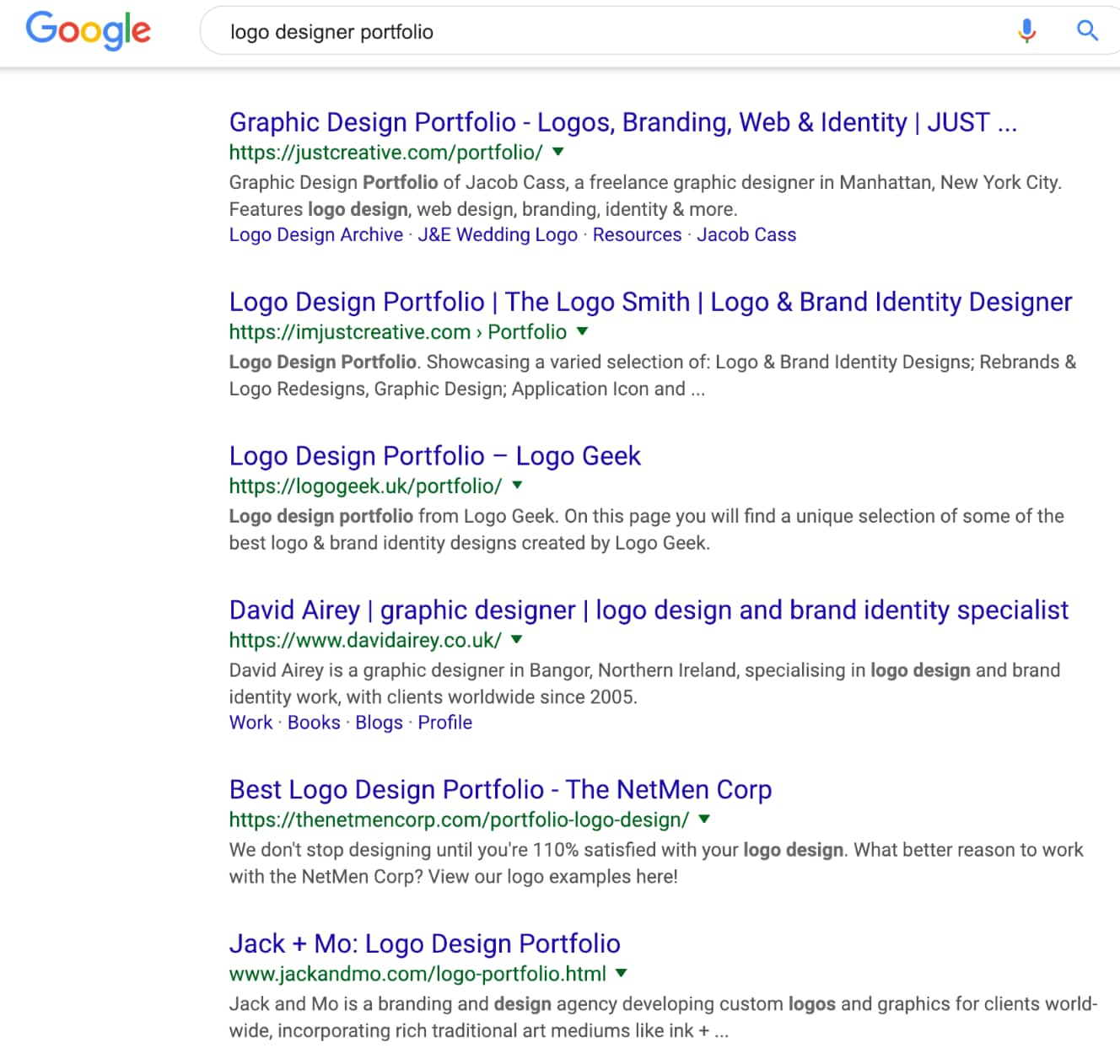 Google 1st page search results for 'logo designer portfolio'