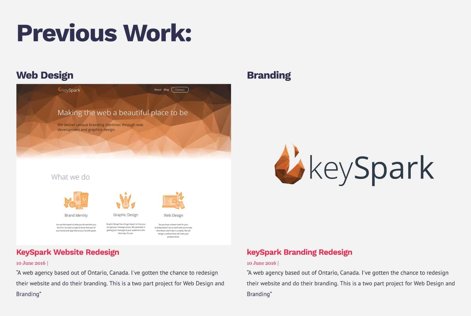 Portfolio website case study