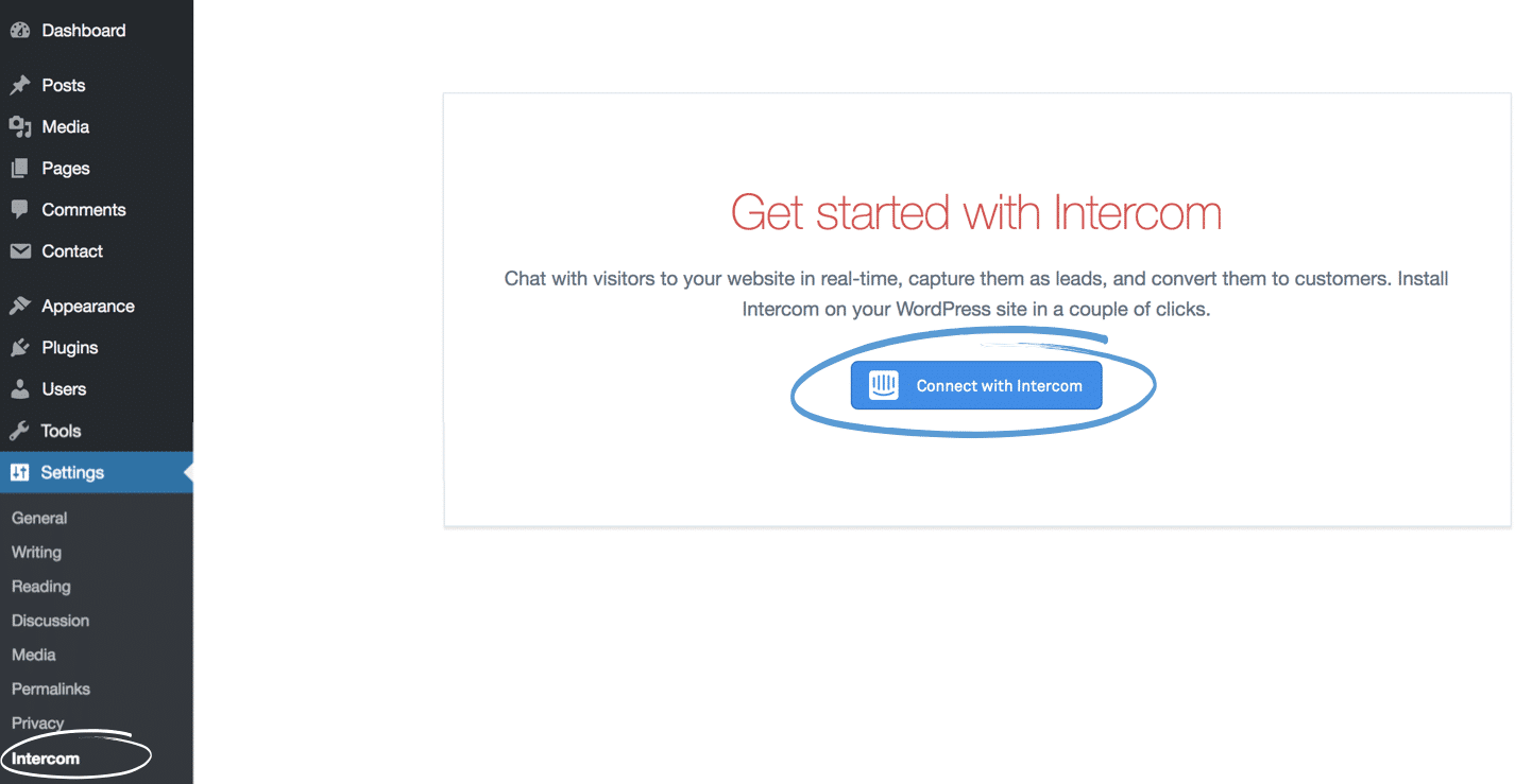 WordPress connect Intercom