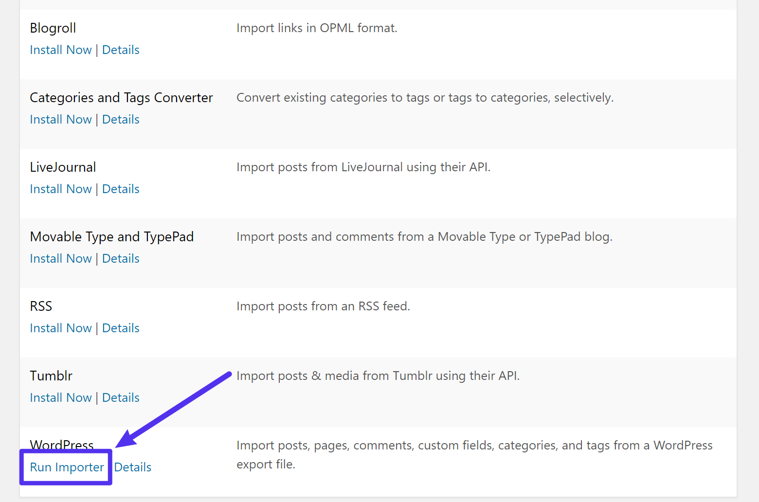Run the WordPress Importer tool