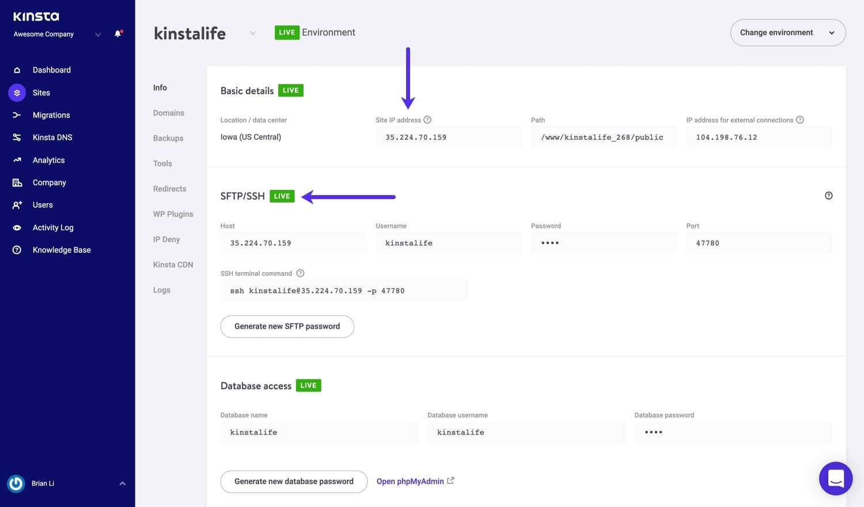 SFTP detailer i MyKinsta.