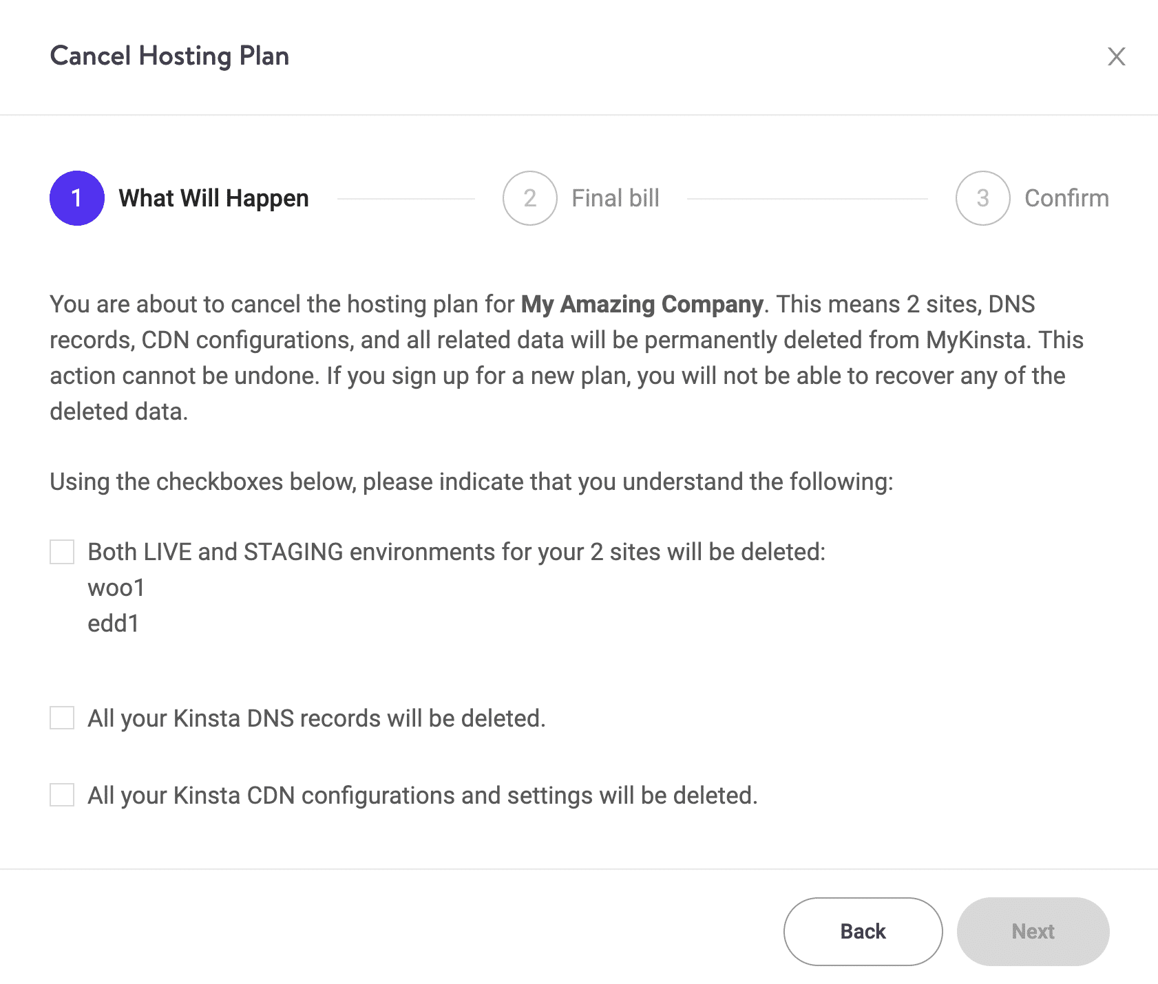 Cancel hosting plan