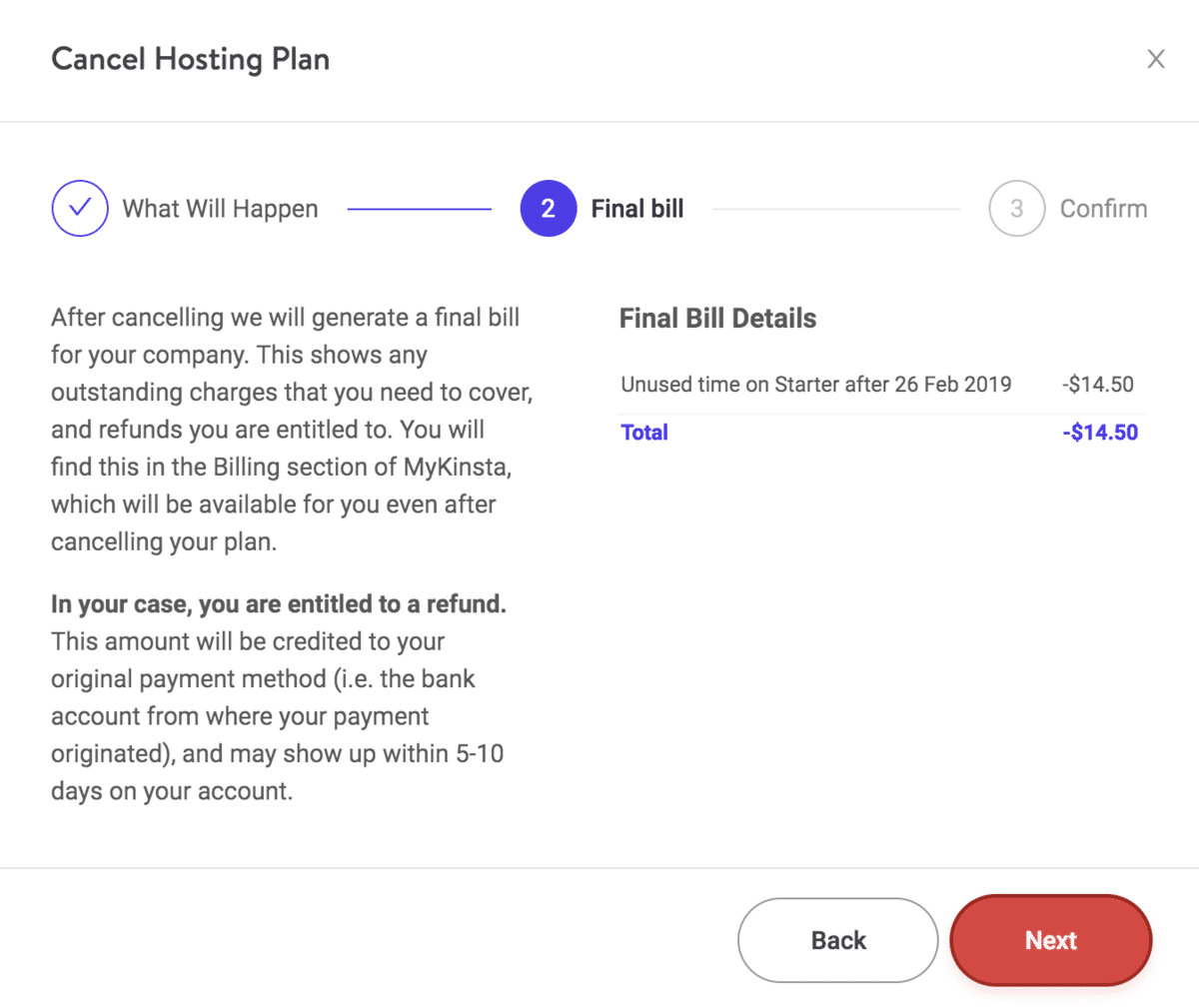 Cancel Kinsta plan - final bill