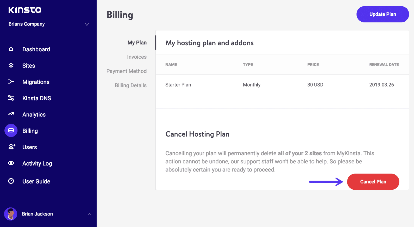 Kinsta cancel plan