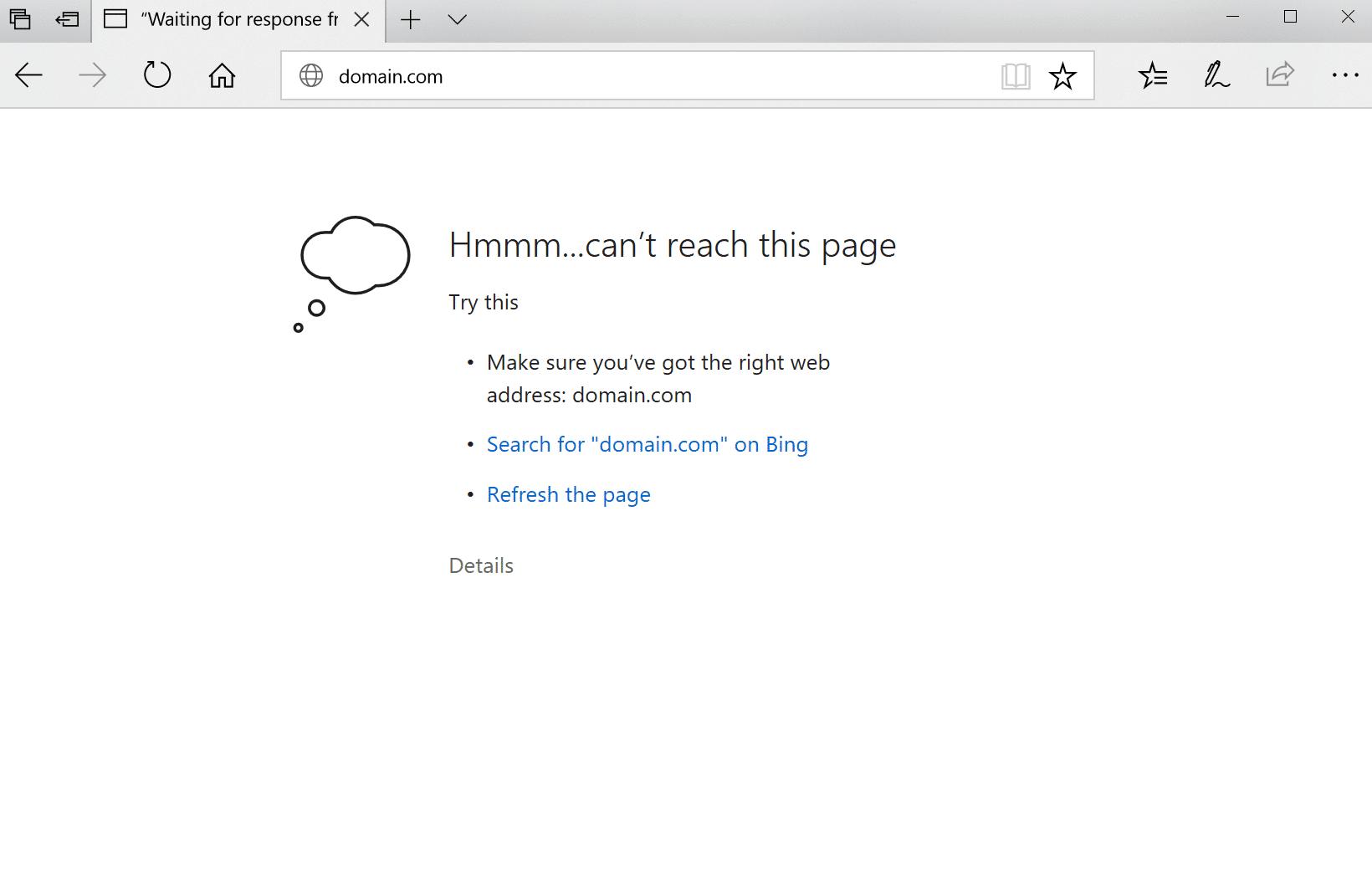 ERR_CONNECTION_REFUSED error in Microsoft Edge