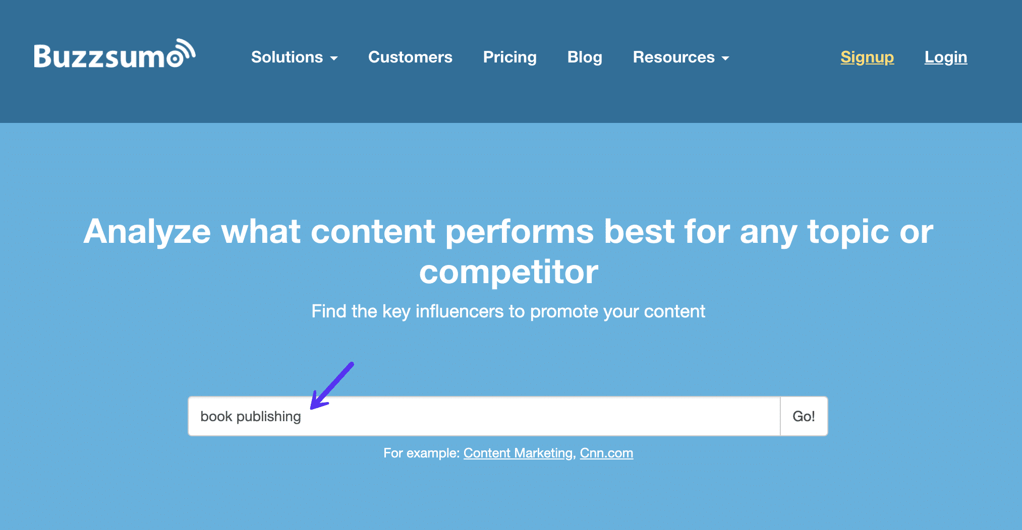 Enter keyword in Buzzsumo